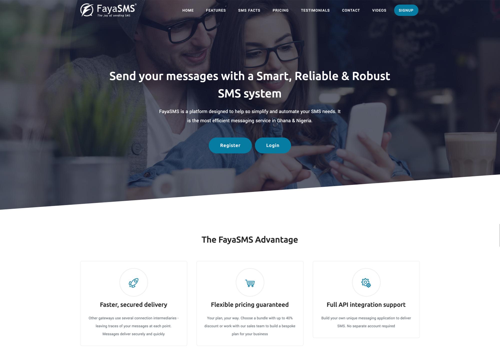FayaSMS Website - Anchora Technologies